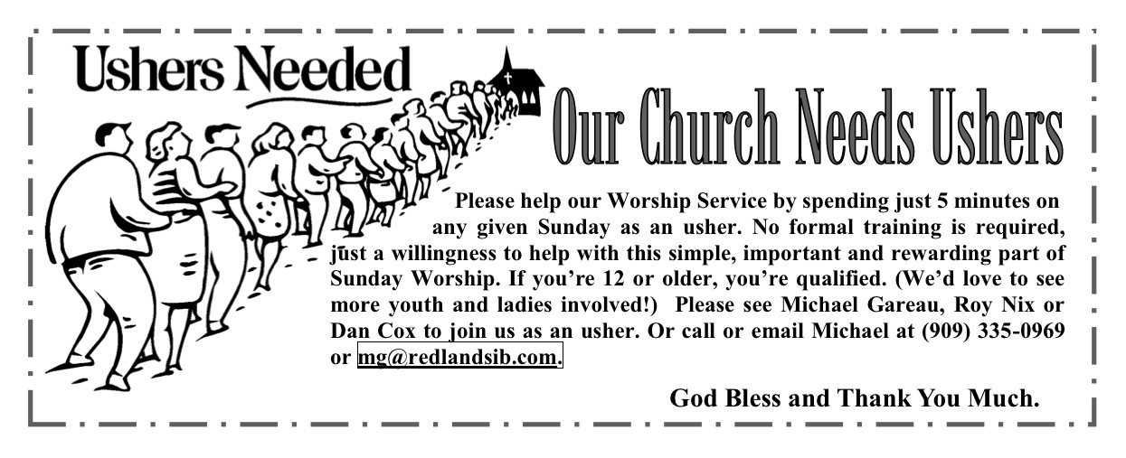 Sermons for Usher Day http://www.fpcsb.net/ushers-needed