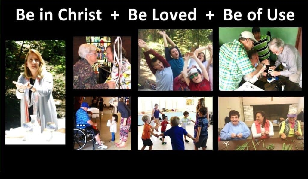 A collage of photos of different ages - female pastor outdoors with bread and communion chalice, kids in a circle playing, man in a wheelchair handing out food, men looking through a microscope, teens stretching, women facing each other, woman, man and young adult cutting palm crosses.