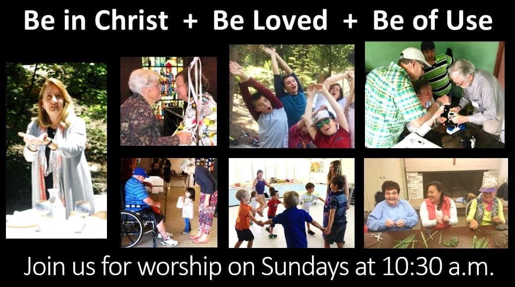 A collage of photos of different ages of members enjoying worship, service, study, and recreation.