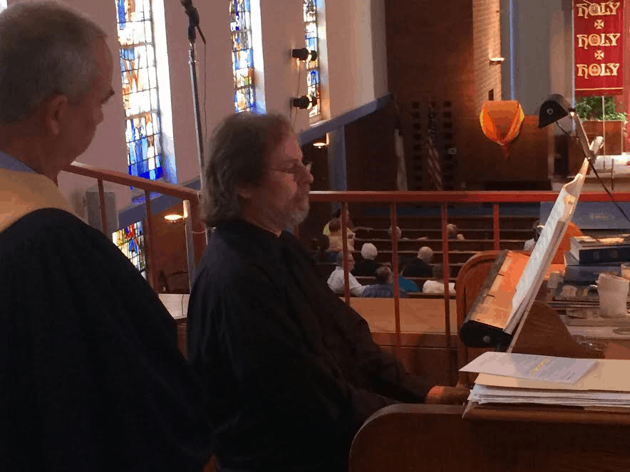 William playing St Anne with Curtiss turning pages on Trinity Sunday