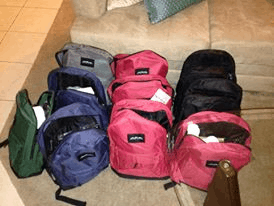 Backpacks for homeless